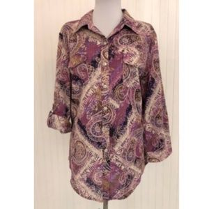 Karen Scott Womens XL Blouse Paisley Cotton Purple